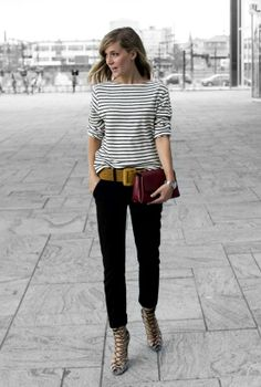 striped boatneck, cropped black, punch of color