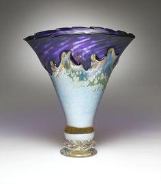 """""""Purple & Yellow Iris Overlay Vase""""  Art Glass Vessel  Created by Dierk Van Keppel"""