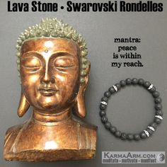 Meditate + manifest and ...sparkle with the Swarovski crystal & gemstone collection. MANTRA: Peace is within my reach. - 8mm Lava Stone Round Gemstones - Swarovski Gunmetal Rondelles - Commercial Stre