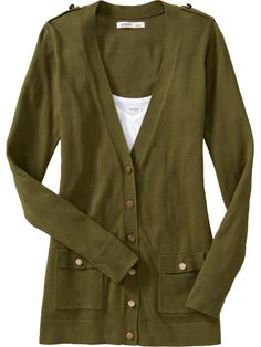 Military-Style V-Neck Cardigan from Old Navy. Has epaulets on the shoulders.