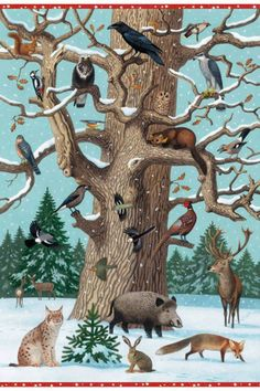 baum im winter - New Ideas Preschool Learning Activities, Winter Activities, Snow Theme, Animal Tracks, Winter Illustration, Animal Crafts For Kids, Painted Stairs, Animal Posters, Winter Kids