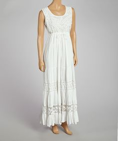 Loving this White Embroidered Ruffle Maxi Dress on #zulily! #zulilyfinds