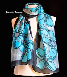 Hand painted silk scarf vibrant turquoise and di FantasticPheasant