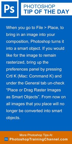 When you go to File > Place, to bring in an image into your composition, Photoshop turns it into a smart object. If you would like for the image to remain rasterized, bring up the preferences panel by pressing Crtl K (Mac: Command K) and under the General tab un-check 'Place or Drag Raster Images as Smart Objects'. From now on all images that you place will no longer be converted into smart objects.