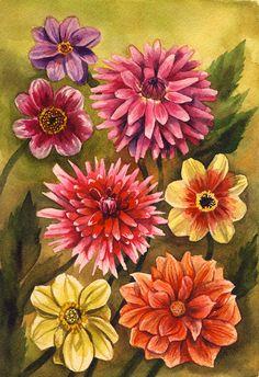 7x10 Art Print - Dahlia Flowers - Watercolor Painting