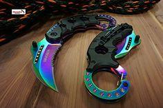 """Only US 6"""" WARTECH S/A Open Rainbow KARAMBIT Folding Knif..."""