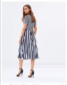 54def9bbc9c Details about Karen Millen Nautical Stripe Drape Slinky Midi Flare Jersey  Occasion Dress 8 36