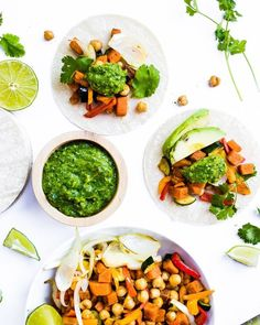 SWEET POTATO + CHICKPEA TACOS WITH CHIMICHURRI SAUCE by @HealthyLittleVittles