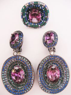 Large Statement Purple and Blue Crystal Rhinestone Pave Earring and Ring Set