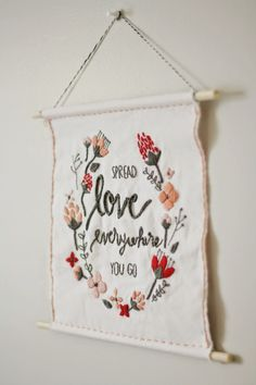 DIY | valentines day embroidered wall hanging