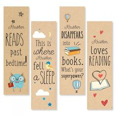 Die-Cut Personalized Reading Bookmarks We'll print these kraft-style bookmarks with the name of your favorite Super-Reader! Reading Bookmarks, Bookmarks For Books, Creative Bookmarks, Cute Bookmarks, Paper Bookmarks, Bookmark Craft, Watercolor Bookmarks, Corner Bookmarks, Handmade Bookmarks