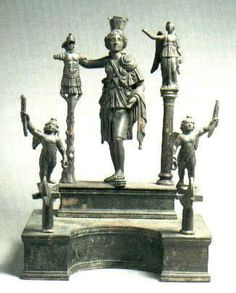 Lararium with Cybele, Nike and Eros, from Roman Spain.