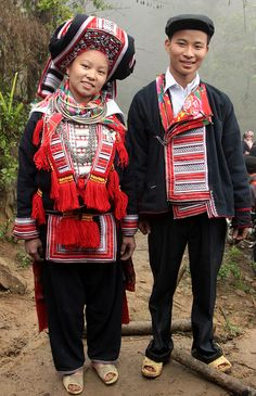 Festivities in traditional dress of a Red Dao wedding (Northern Vietnam)