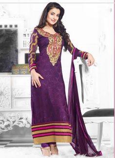 Amisha Patel In Charming Purple Designer Long Churidar Suit http://www.angelnx.com/Salwar-Kameez/Bollywood-Salwar