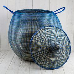 "Blue African Basket Bell Jar With Lid - Medium (24.5""h) - HOME ACCENTS - HOME DECOR"