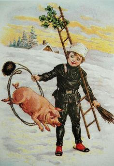 chimney sweep and a lucky pig