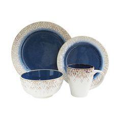 Earthenware Casual Contemporary Country Blue White Round 16 Piece Dinnerware Set #Granada