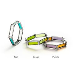 STAINED GLASS HEXAGON BRACELET comes in clear, green, teal combo, or purple combo. $75