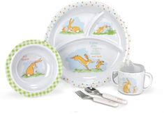 Guess How Much I Love You 5 Piece Melamine Set. Decorated with features from the famous classic guess how much I love you. Includes a themed bowl, plate, sippy cup, fork and spoon. Baby Dumbo, Baby Dishes, Interactive Toys, Baby Alive, Diaper Bag Backpack, Baby Feeding, Baby Care, Cool Toys, Baby Items