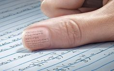 Very unique way to cheat... I always kind of look at my thumbs when I'm thinking deeply lol
