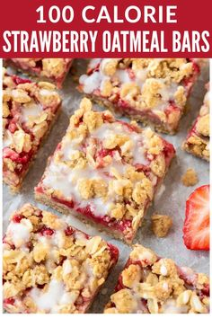 Strawberry oatmeal bars are a healthier fruit dessert, made with fresh strawberries, whole grain butter crumb topping, and a lightly sweetened vanilla glaze. This healthier oatmeal bars recipe is a favorite, because these delicious treats are easy to make and just 100 calories each! #strawberrybars #spring #strawberry #strawberries #desserts #healthy #healthydesserts