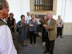 Madrid guide Juan Barrionuevo leads members of the Commonwealth Club of California Taste of Spain Tour 2013 through the Literary Quarter of Old Madrid. Photo by Bon Hartline, Panasonic Lumix DMC-ZS30.