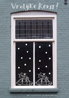 Windowpainting illustrated by Karen Weening seen on Driving Home For Christmas, Christmas Crafts For Kids To Make, Christmas Love, Winter Christmas, Chalkboard Decor, Christmas Window Decorations, Navidad Diy, 242, Theme Noel