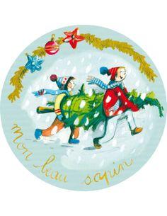"Christine Davenier carte postale ronde (13cm) ""Mon beau sapin"""