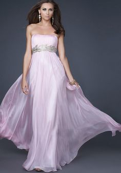 New Arrival Beaded Empire Pink Evening Dress