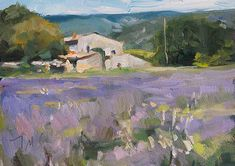 daily painting titled House and lavender field - postcard from provence| oil
