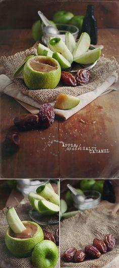 Apple Slices with Salty Medjool Caramel Sauce