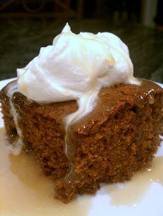 emma the joy: warm gingerbread cake with homemade caramel sauce.