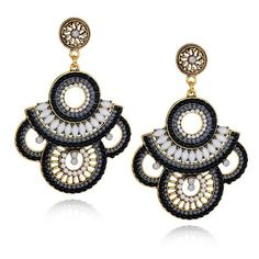Embroidered Beaded Drop Earrings Folk Style Handmade EverMarker ($15) ❤ liked on Polyvore featuring jewelry, earrings, orecchini, bead jewellery, beading earrings, beaded jewelry, beaded earrings and beading jewelry