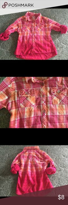 Justice plaid girls shirt Justice pink orange white plaid long sleeve that can be rolled shirt.  Embellished pockets Justice Shirts & Tops Button Down Shirts