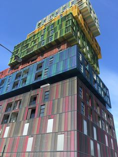 Expanded metal, used as a colourful apartment building facade. The Icon, St Kilda. Architect: Jackson Clements Burrows Architects