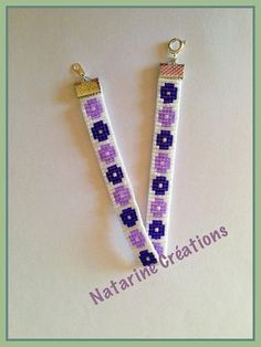 Fine woven bracelet with a loom and Miyuki glass beads. This bracelet will give a touch of spring to your outfit and a touch of freshness with small flowers and a white background. The flowers are in two shades of purple. Dark and light purple. Its length is 19 cm width 1