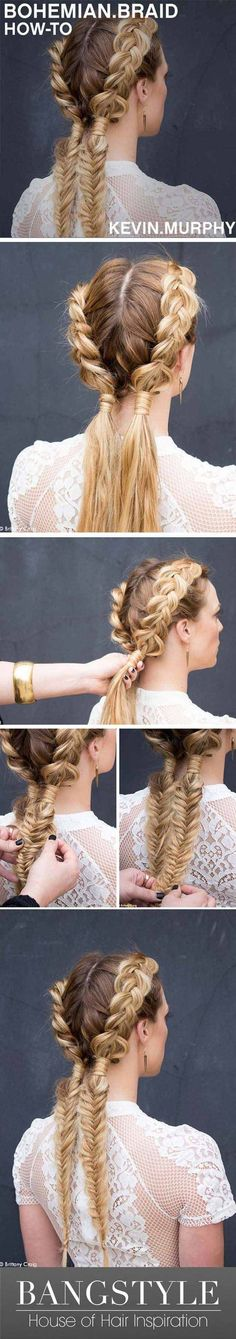 Festival Hair Tutorials - Bohemain Braid - Short Quick and Easy Tutorial Guides and How Tos for Braids, Curly Hair, Long Hair, Medium Hair, and that Perfect Updo - Great Ideas for That Summer Music Edm Show, Whether It's A New Hair Color or Some Awesome Accessories and Flowers - Boho and Bohemian Styles with Glitter and a Headband - https://thegoddess.com/festival-hair-tutorials