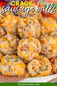 Crack Sausage Balls - cream cheese sausage balls loaded with cheddar, bacon, and ranch. Seriously the BEST sausage balls you'll ever eat! Sausage, Bisquick, Ranch mix, cheddar cheese, bacon, and cream cheese. Can make in advance and freeze unbaked for a quick snack later. These are great for tailgating and parties! #sausageballs #bacon #ranch #freezermeal #tailgating #partyfood Bacon Appetizers, Finger Food Appetizers, Appetizer Recipes, Finger Foods, Jimmy Dean, Cheese Sausage, Cheddar Cheese, Best Sausage Ball Recipe, Brie