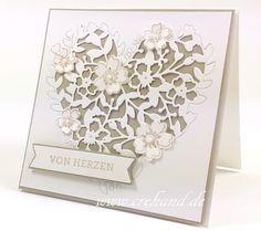 Grußkarte Hochzeit,  Valentinstag, Blühendes Herz, Blüten der Liebe, Saharasand, Stampin Up 2016, crehand