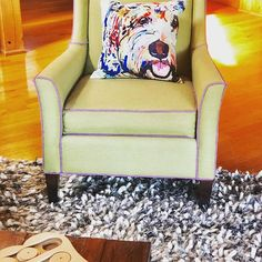 "I bought this pillow recently for a photo shoot. The description on Amazon says it's a Bichon Frise (or a ""Bitchin' frizzy, as I like to say). 🌺 But every time I look at it, I see ""Soupy"", my sister's golden doodle who passed earlier this year. : Wingback Chair, Armchair, Unique Toys, Gifts For Pet Lovers, Bichon Frise, Love Pet, Goldendoodle, Photo Shoot, Pillows"