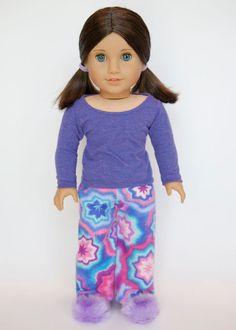 American Girl doll pajamas with slippers  by EverydayDollwear, $22.00