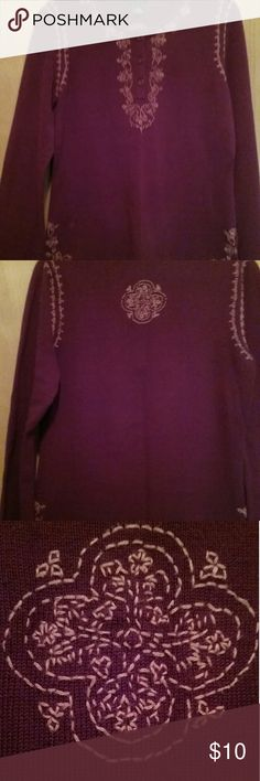 AEO burgandy  embroidered sweater American Eagle Outfitters burgandy embroidered sweater.  Designs at neck, side hem, shoulders, and center of upper back. Buttons on front. A little hippie vibe. Hardly worn. American Eagle Outfitters Sweaters Crew & Scoop Necks