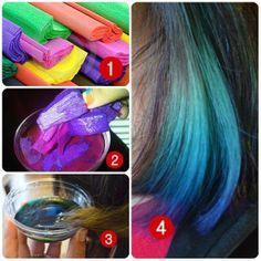 Mechas de colores.. Muy fácil y sencillo!! Con papel crepe se consigue muy facil en cualquier papeleria