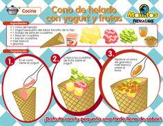cono de helado con yogurt y frutas