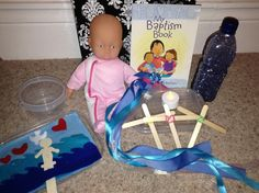 Here's a bag I've put together for my placement church to help with Baptism services.  It can be used to help teach children about the elements of Baptism and can also be used during the service for c