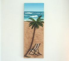 Deckchair in Seashell Mosaic & Palm Tree on Sand Wall Art, Beach Painting of Deckchair under a Palm Tree for home decor, Mosaic Art Deckchair. Created on a box canvas and includes the sides, to enhance the effect Dimensions: High x Wide x Deep x x 3d Wall Art, Art 3d, Pictures Of Insects, Feather Painting, Beach Artwork, California Art, Mosaic Art, Mosaics, Turquoise Glass