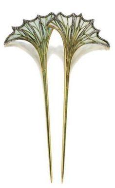 Plique-à-jour enamel with small rose-cut diamonds in the veins - c.1900 - by Louis Aucoc (French, 1850-1932) - Style: Art Nouveau