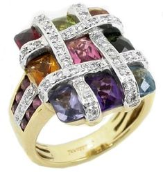 Bellari Multi Color Semi Precious Stone & Diamond 18k Yellow & White Gold Ring