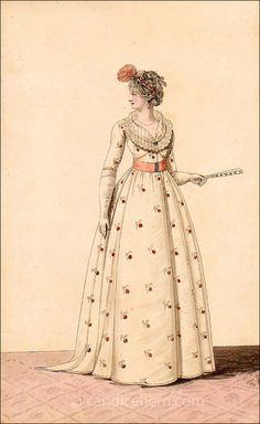 Sprigged gown. Heideloff (October 1799)