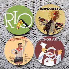 Blame it on Rio  Vintage South America Travel Coaster set coasters by Polkadotdog